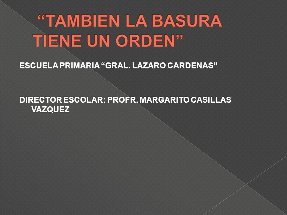 ESCUELA PRIMARIA GRAL. LAZARO CARDENAS DIRECTOR ESCOLAR: PROFR. MARGARITO CASILLAS VAZQUEZ