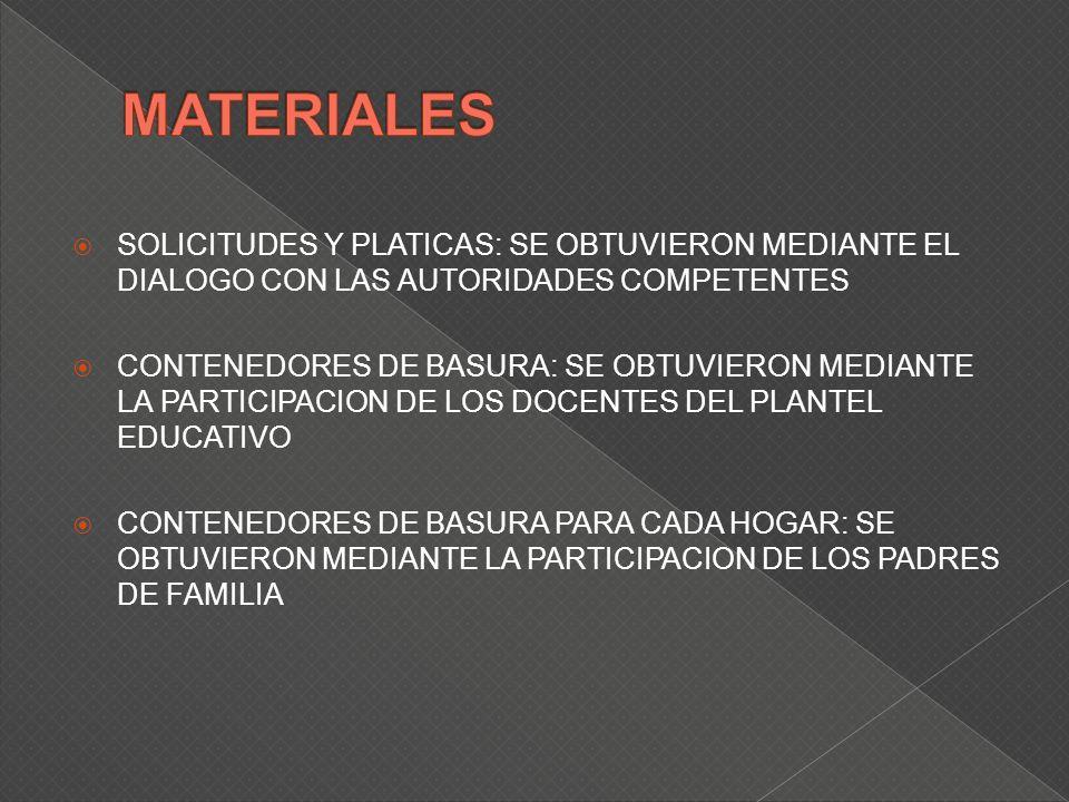 SOLICITUDES Y PLATICAS: SE OBTUVIERON MEDIANTE EL DIALOGO CON LAS AUTORIDADES COMPETENTES CONTENEDORES DE BASURA: SE OBTUVIERON MEDIANTE LA PARTICIPACION DE LOS DOCENTES DEL PLANTEL EDUCATIVO CONTENEDORES DE BASURA PARA CADA HOGAR: SE OBTUVIERON MEDIANTE LA PARTICIPACION DE LOS PADRES DE FAMILIA