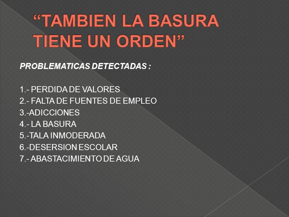 PROBLEMATICAS DETECTADAS : 1.- PERDIDA DE VALORES 2.- FALTA DE FUENTES DE EMPLEO 3.-ADICCIONES 4.- LA BASURA 5.-TALA INMODERADA 6.-DESERSION ESCOLAR 7.- ABASTACIMIENTO DE AGUA