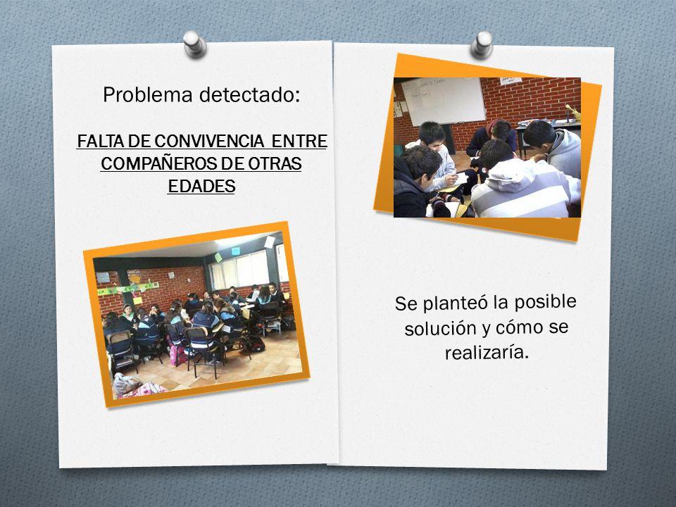 Se planteó la posible solución y cómo se realizaría. Problema detectado: FALTA DE CONVIVENCIA ENTRE COMPAÑEROS DE OTRAS EDADES
