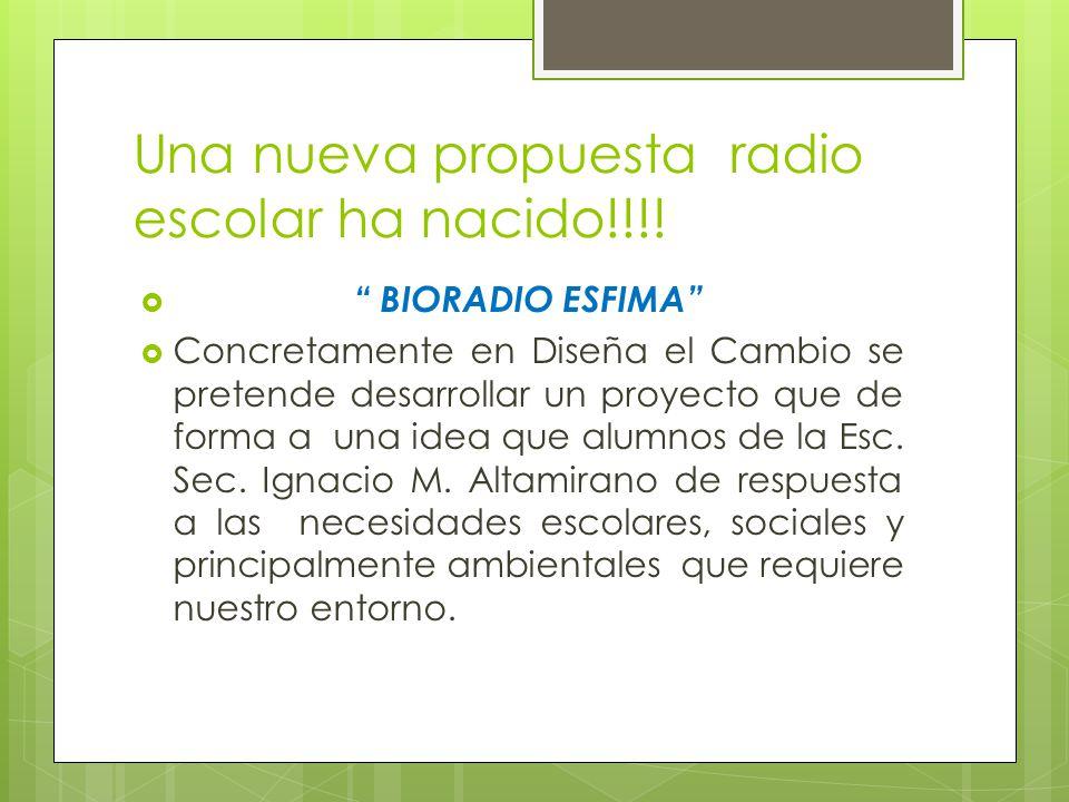 Una nueva propuesta radio escolar ha nacido!!!! BIORADIO ESFIMA Concretamente en Diseña el Cambio se pretende desarrollar un proyecto que de forma a u