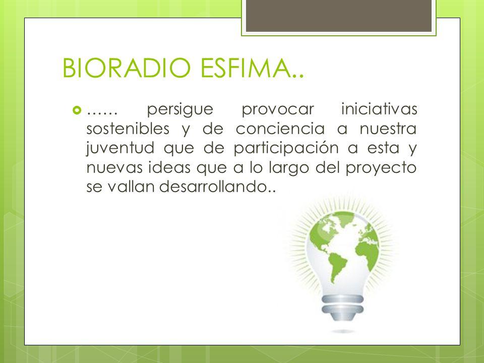 BIORADIO ESFIMA.. …… persigue provocar iniciativas sostenibles y de conciencia a nuestra juventud que de participación a esta y nuevas ideas que a lo