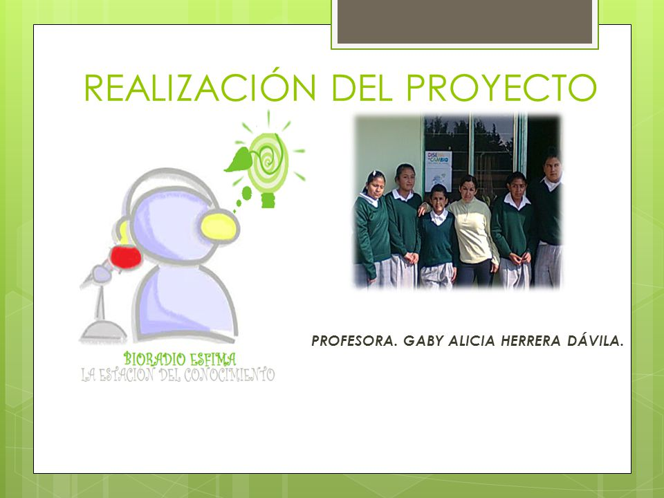 REALIZACIÓN DEL PROYECTO PROFESORA. GABY ALICIA HERRERA DÁVILA.