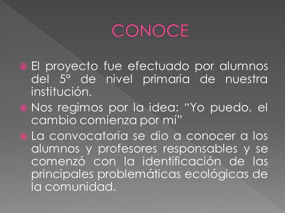 El proyecto fue efectuado por alumnos del 5° de nivel primaria de nuestra institución.