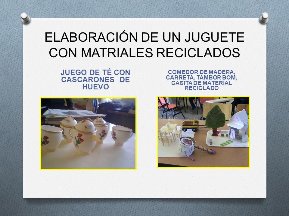 ELABORACIÓN DE UN JUGUETE CON MATRIALES RECICLADOS JUEGO DE TÉ CON CASCARONES DE HUEVO COMEDOR DE MADERA, CARRETA, TAMBOR BOM, CASITA DE MATERIAL RECI