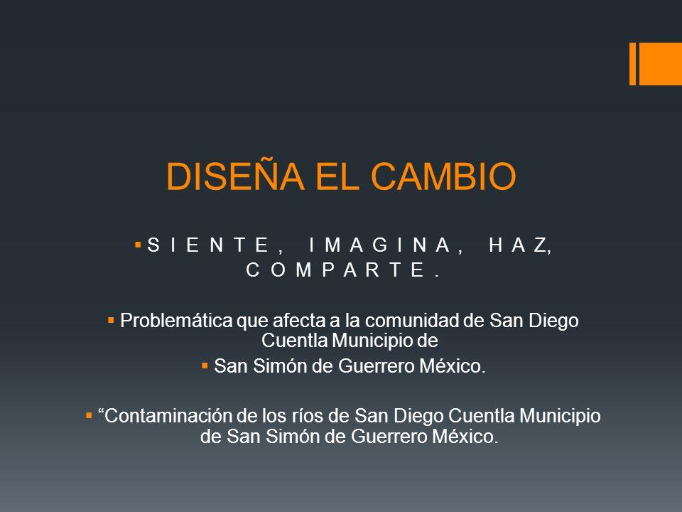 DISEÑA EL CAMBIO S I E N T E, I M A G I N A, H A Z, C O M P A R T E. Problemática que afecta a la comunidad de San Diego Cuentla Municipio de San Simó