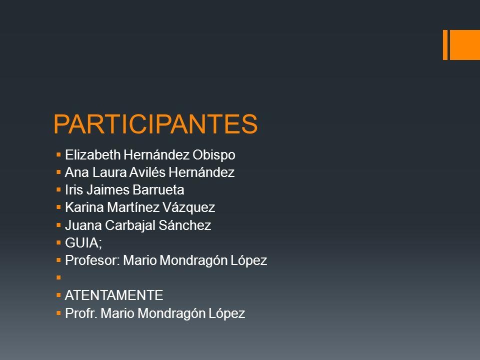 PARTICIPANTES Elizabeth Hernández Obispo Ana Laura Avilés Hernández Iris Jaimes Barrueta Karina Martínez Vázquez Juana Carbajal Sánchez GUIA; Profesor