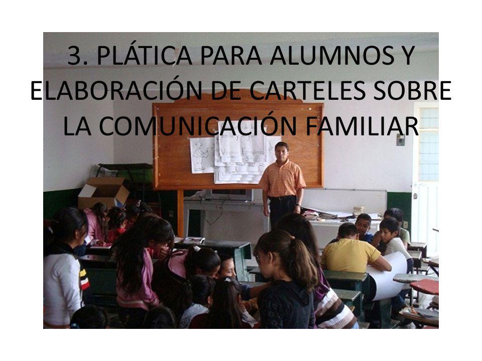 3. PLÁTICA PARA ALUMNOS Y ELABORACIÓN DE CARTELES SOBRE LA COMUNICACIÓN FAMILIAR