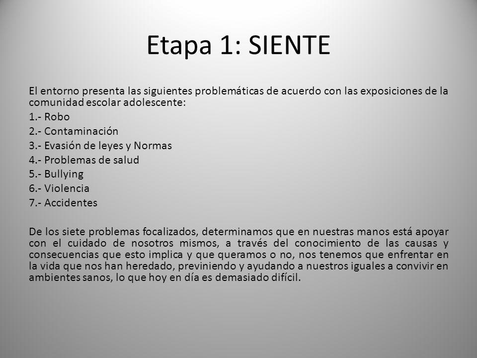 Etapa 1: SIENTE El entorno presenta las siguientes problemáticas de acuerdo con las exposiciones de la comunidad escolar adolescente: 1.- Robo 2.- Con