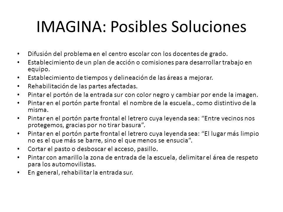 IMAGINA: Posibles Soluciones Difusión del problema en el centro escolar con los docentes de grado. Establecimiento de un plan de acción o comisiones p