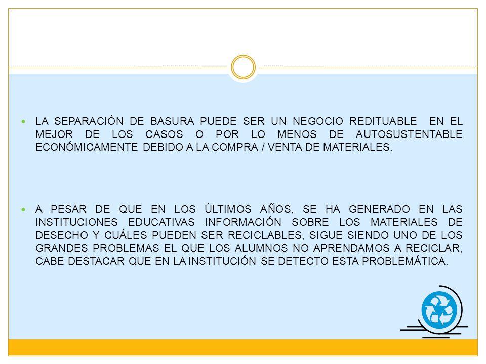 PROBLEMAS 1.- ESCASOS BOTES DE BASURA 2.- TIRADEROS DE BASURA EN TODO LUGAR 3.- DENSIDAD ALTA DE ALUMNOS EN EL PLANTEL 4.-HABITOS QUE LOS ALUMNOS TRAEN DE SU CASA TENDIENTES A TIRAR LA BASURA EN LAS ÁREAS VERDES DE LA ESCUELA 5.- DEBIDO A LA EDUCACIÓN DEFICIENTE QUE TIENEN LOS ALUMNOS DE NO TIRAR LA BASURA EN SU LUGAR, LA ESCUELA SE VE AFECTADA CON BASURA EN TODOS LADOS 1) Siente