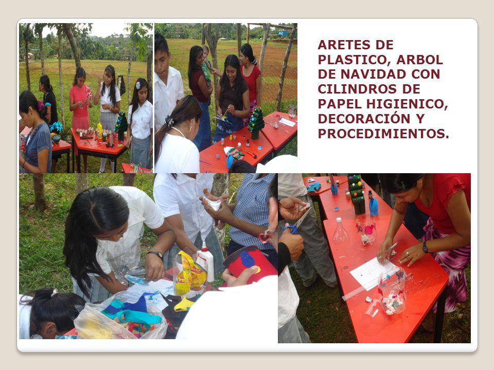 ARETES DE PLASTICO, ARBOL DE NAVIDAD CON CILINDROS DE PAPEL HIGIENICO, DECORACIÓN Y PROCEDIMIENTOS.
