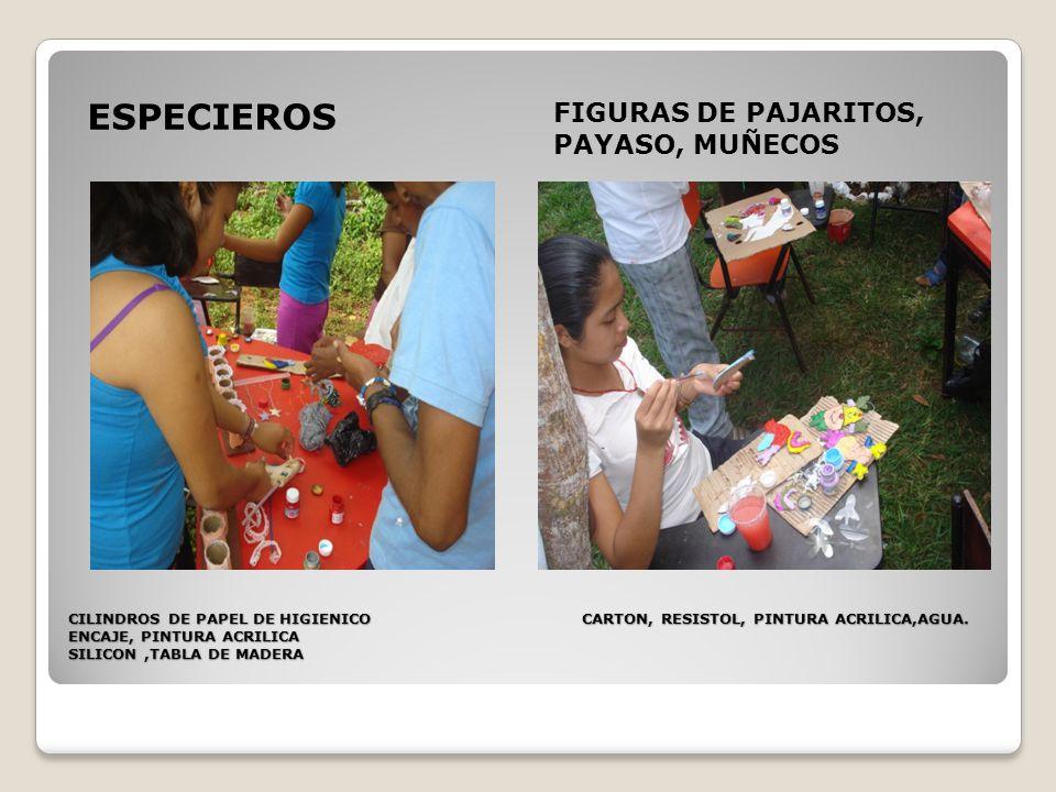 CILINDROS DE PAPEL DE HIGIENICO CARTON, RESISTOL, PINTURA ACRILICA,AGUA.