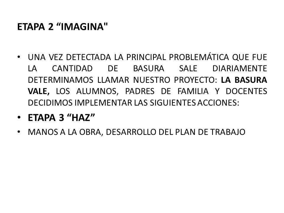 ETAPA 2 IMAGINA UNA VEZ DETECTADA LA PRINCIPAL PROBLEMÁTICA QUE FUE LA CANTIDAD DE BASURA SALE DIARIAMENTE DETERMINAMOS LLAMAR NUESTRO PROYECTO: LA BASURA VALE, LOS ALUMNOS, PADRES DE FAMILIA Y DOCENTES DECIDIMOS IMPLEMENTAR LAS SIGUIENTES ACCIONES: ETAPA 3 HAZ MANOS A LA OBRA, DESARROLLO DEL PLAN DE TRABAJO