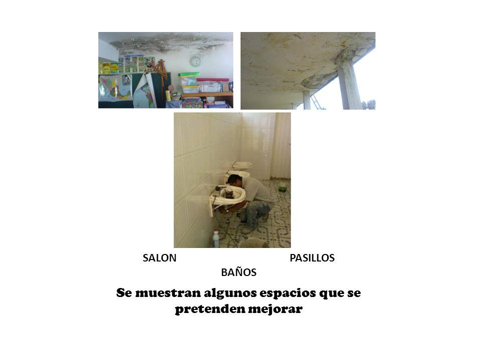 SALON PASILLOS BAÑOS Se muestran algunos espacios que se pretenden mejorar