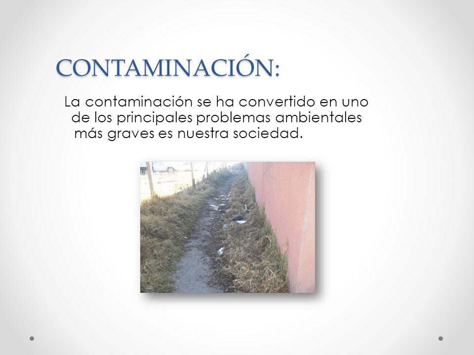 CONTAMINACIÓN: La contaminación se ha convertido en uno de los principales problemas ambientales más graves es nuestra sociedad.