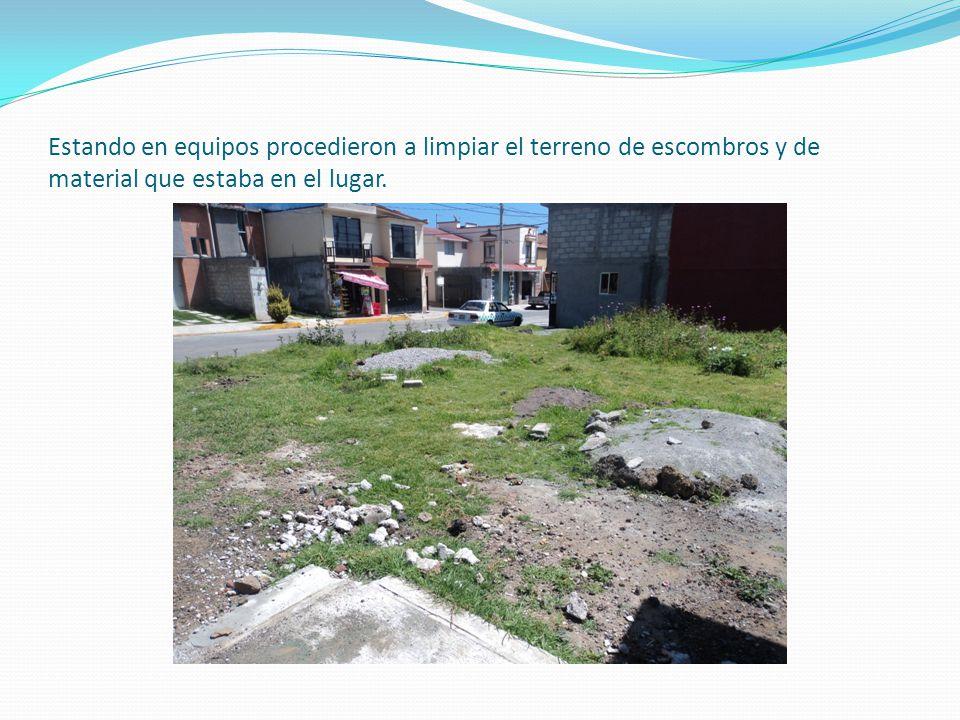 Para esto se analizo el terreno y que modificaciones podríamos hacer y como realizar un jardín, lo cual los alumnos de 3°I se colocaron en quipos de 5 y procedieron al mejoramiento del mismo.