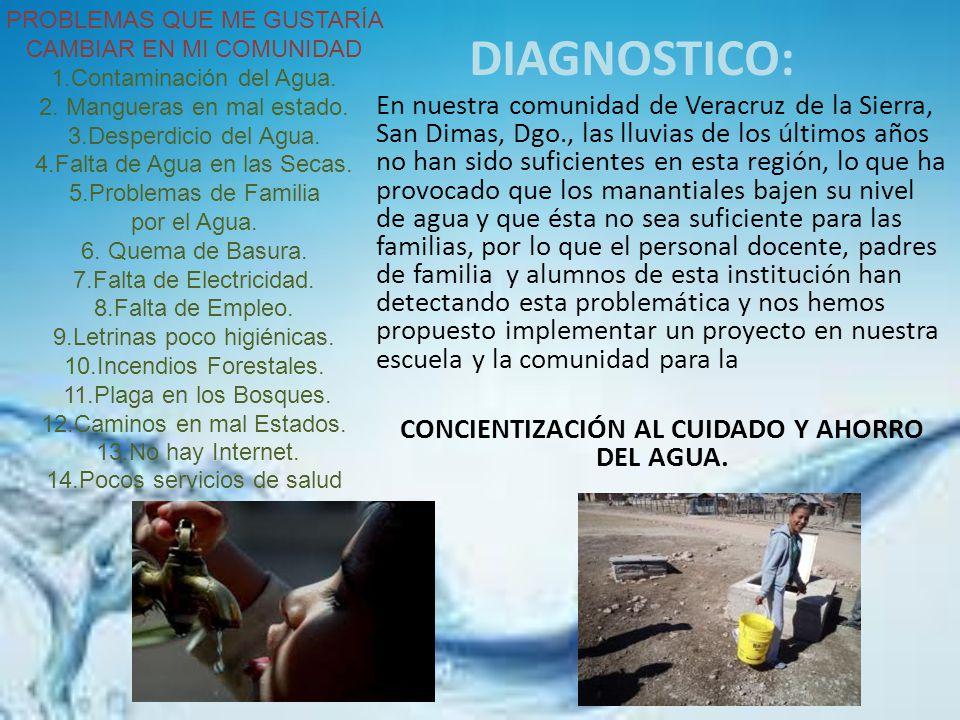 DIAGNOSTICO: En nuestra comunidad de Veracruz de la Sierra, San Dimas, Dgo., las lluvias de los últimos años no han sido suficientes en esta región, l