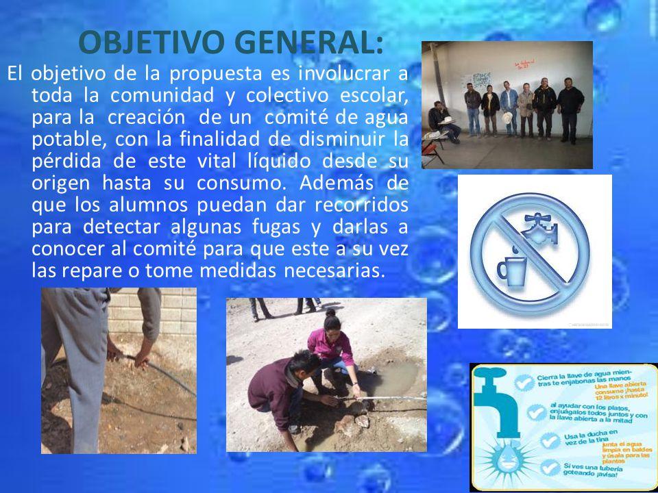 OBJETIVO GENERAL: El objetivo de la propuesta es involucrar a toda la comunidad y colectivo escolar, para la creación de un comité de agua potable, co