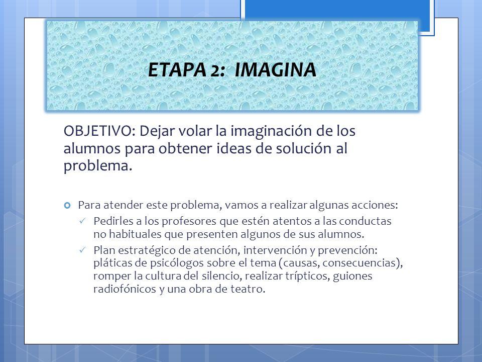 OBJETIVO: Dejar volar la imaginación de los alumnos para obtener ideas de solución al problema. Para atender este problema, vamos a realizar algunas a