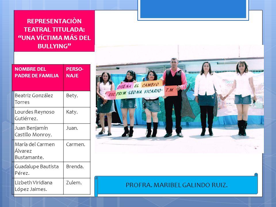 REPRESENTACIÒN TEATRAL TITULADA: UNA VÍCTIMA MÁS DEL BULLYING NOMBRE DEL PADRE DE FAMILIA PERSO- NAJE Beatriz González Torres Bety. Lourdes Reynoso Gu
