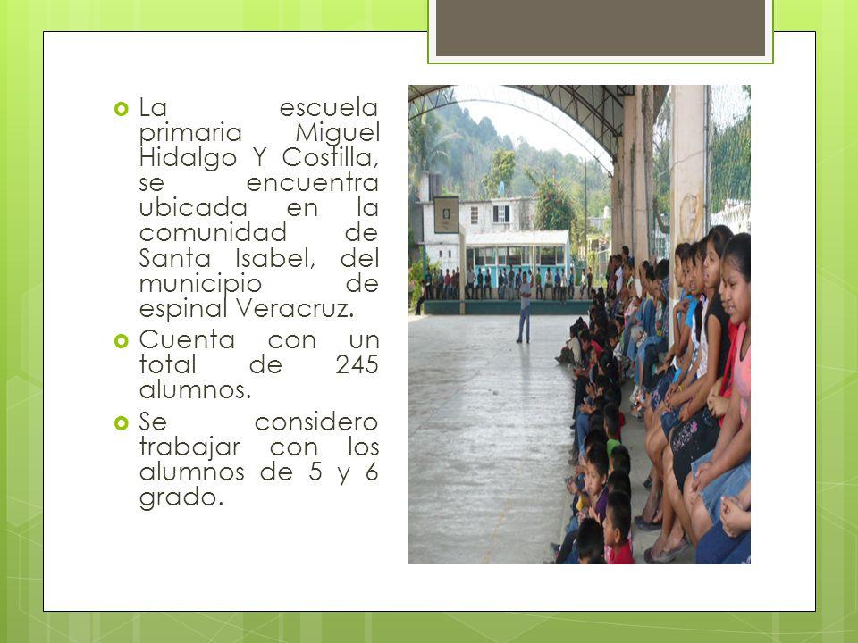 La escuela primaria Miguel Hidalgo Y Costilla, se encuentra ubicada en la comunidad de Santa Isabel, del municipio de espinal Veracruz. Cuenta con un