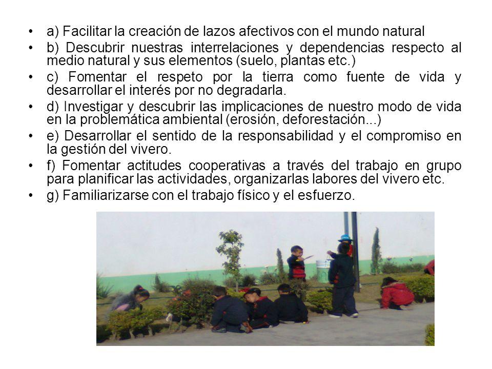a) Facilitar la creación de lazos afectivos con el mundo natural b) Descubrir nuestras interrelaciones y dependencias respecto al medio natural y sus