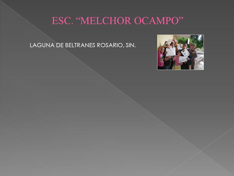 ESC. MELCHOR OCAMPO LAGUNA DE BELTRANES ROSARIO, SIN.