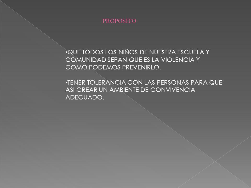 QUE TODOS LOS NIÑOS DE NUESTRA ESCUELA Y COMUNIDAD SEPAN QUE ES LA VIOLENCIA Y COMO PODEMOS PREVENIRLO. TENER TOLERANCIA CON LAS PERSONAS PARA QUE ASI