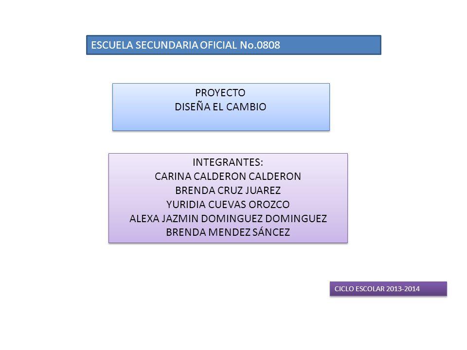 ESCUELA SECUNDARIA OFICIAL No.0808 PROYECTO DISEÑA EL CAMBIO PROYECTO DISEÑA EL CAMBIO INTEGRANTES: CARINA CALDERON CALDERON BRENDA CRUZ JUAREZ YURIDIA CUEVAS OROZCO ALEXA JAZMIN DOMINGUEZ DOMINGUEZ BRENDA MENDEZ SÁNCEZ INTEGRANTES: CARINA CALDERON CALDERON BRENDA CRUZ JUAREZ YURIDIA CUEVAS OROZCO ALEXA JAZMIN DOMINGUEZ DOMINGUEZ BRENDA MENDEZ SÁNCEZ CICLO ESCOLAR 2013-2014