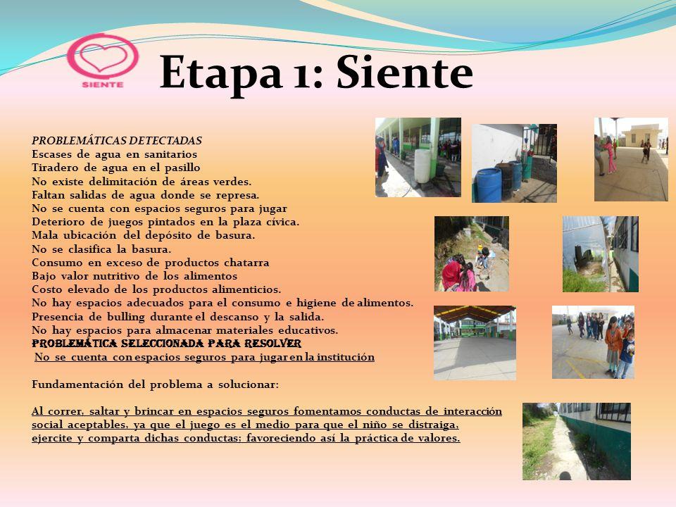 Etapa 1: Siente PROBLEMÁTICAS DETECTADAS Escases de agua en sanitarios Tiradero de agua en el pasillo No existe delimitación de áreas verdes. Faltan s