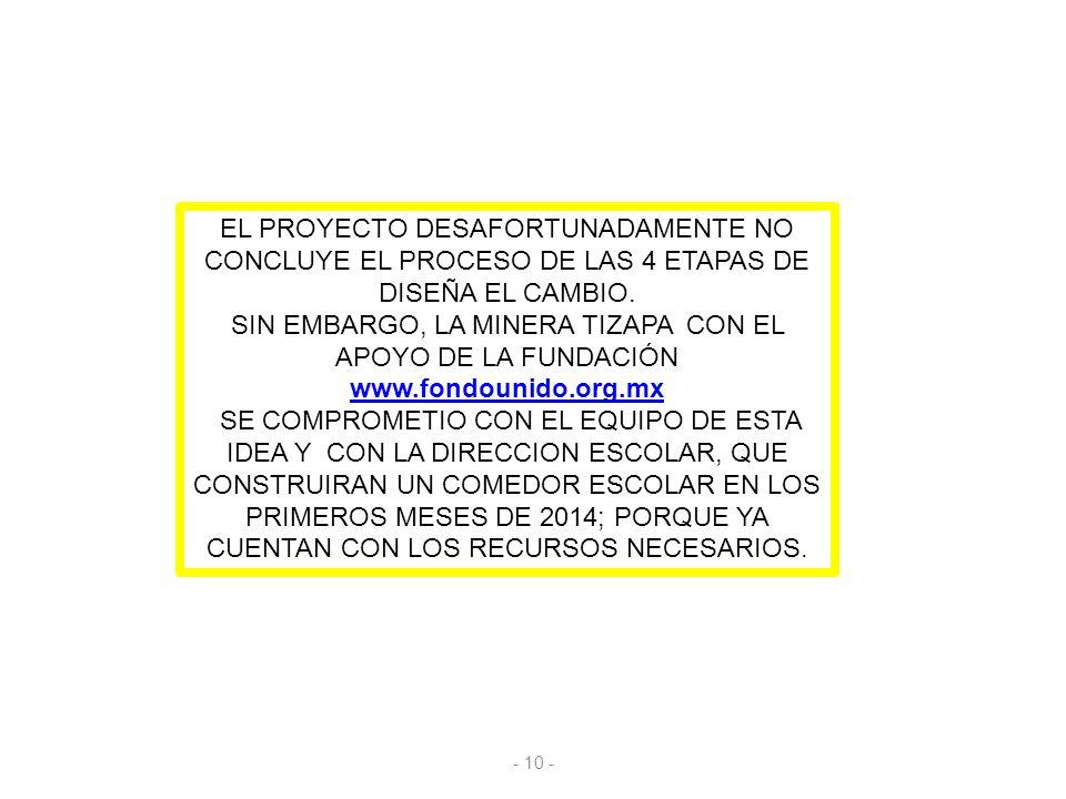 EL PROYECTO DESAFORTUNADAMENTE NO CONCLUYE EL PROCESO DE LAS 4 ETAPAS DE DISEÑA EL CAMBIO. SIN EMBARGO, LA MINERA TIZAPA CON EL APOYO DE LA FUNDACIÓN