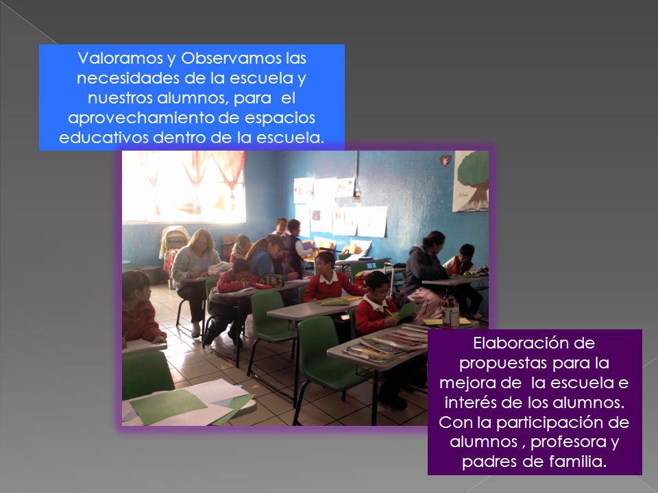 Valoramos y Observamos las necesidades de la escuela y nuestros alumnos, para el aprovechamiento de espacios educativos dentro de la escuela. Elaborac