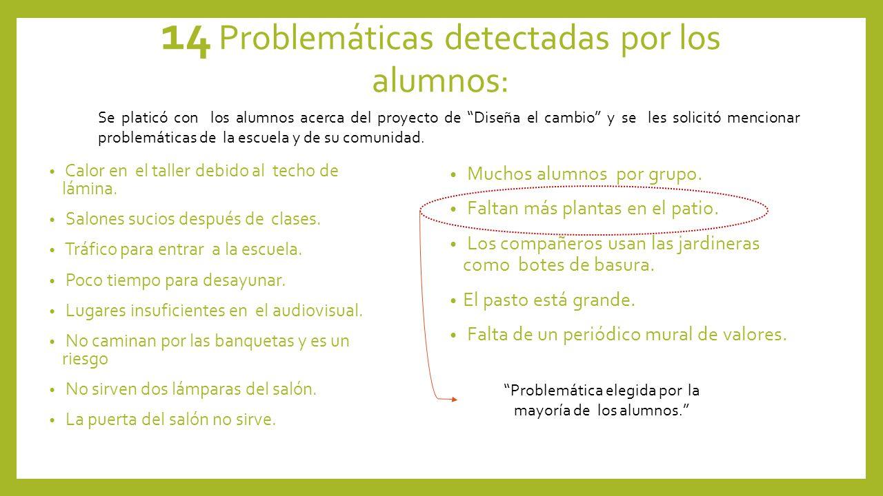 14 Problemáticas detectadas por los alumnos: Calor en el taller debido al techo de lámina.