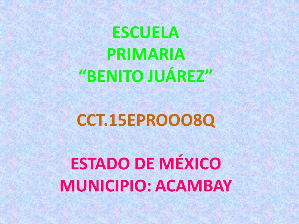 ESCUELA PRIMARIA BENITO JUÁREZ CCT.15EPROOO8Q ESTADO DE MÉXICO MUNICIPIO: ACAMBAY