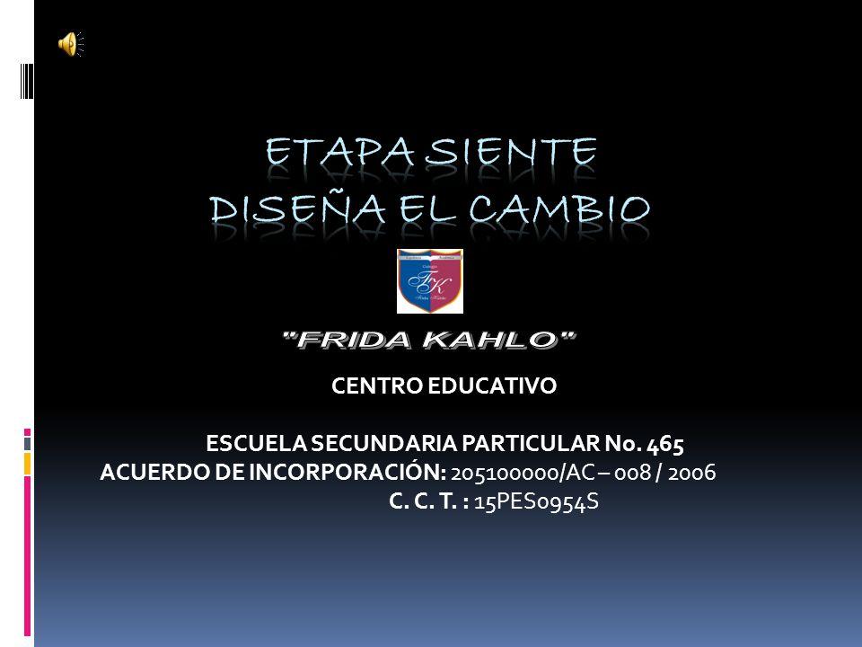 CENTRO EDUCATIVO ESCUELA SECUNDARIA PARTICULAR No. 465 ACUERDO DE INCORPORACIÓN: 205100000/AC – 008 / 2006 C. C. T. : 15PES0954S