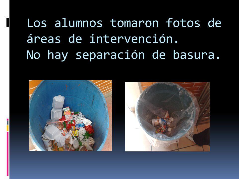 Los alumnos tomaron fotos de áreas de intervención. No hay separación de basura.