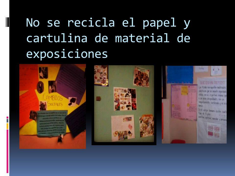 No se recicla el papel y cartulina de material de exposiciones