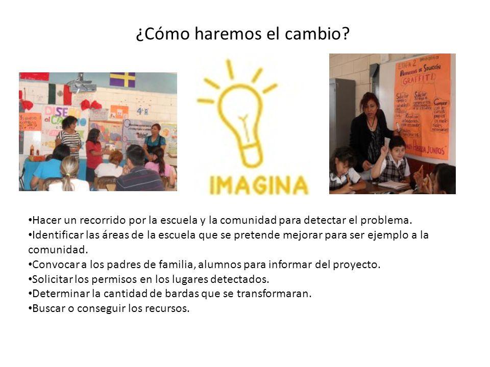 ¿Cómo haremos el cambio? Hacer un recorrido por la escuela y la comunidad para detectar el problema. Identificar las áreas de la escuela que se preten
