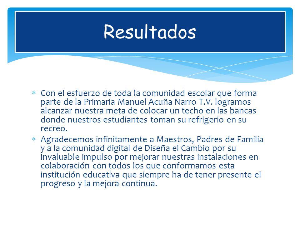Resultados Con el esfuerzo de toda la comunidad escolar que forma parte de la Primaria Manuel Acuña Narro T.V.