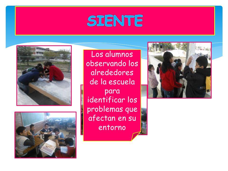 Los alumnos observando los alrededores de la escuela para identificar los problemas que afectan en su entorno
