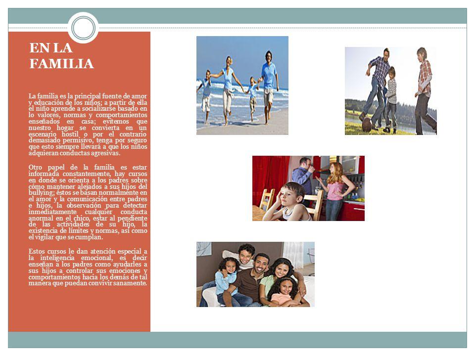 EN LA FAMILIA La familia es la principal fuente de amor y educación de los niños; a partir de ella el niño aprende a socializarse basado en lo valores