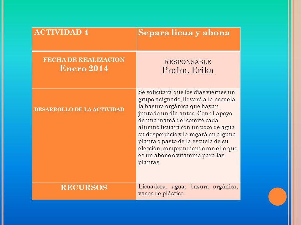 ACTIVIDAD 4 Separa licua y abona FECHA DE REALIZACION Enero 2014 RESPONSABLE Profra.