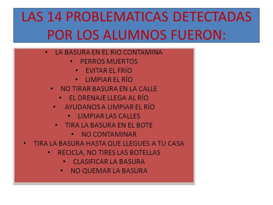 LAS 14 PROBLEMATICAS DETECTADAS POR LOS ALUMNOS FUERON: LA BASURA EN EL RIO CONTAMINA PERROS MUERTOS EVITAR EL FRÍO LIMPIAR EL RÍO NO TIRAR BASURA EN