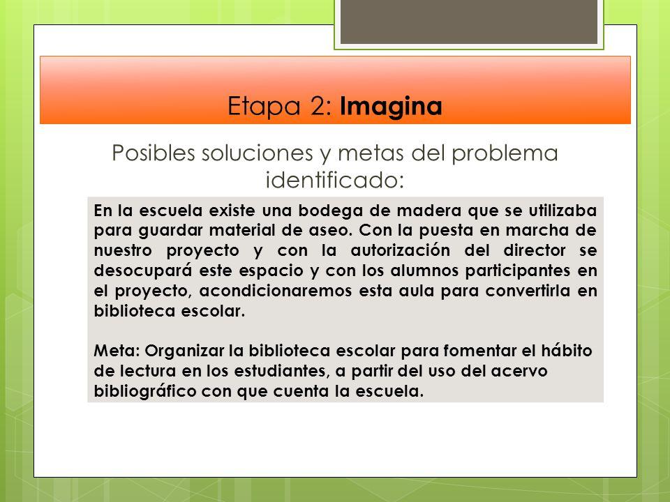 Etapa 2: Imagina Posibles soluciones y metas del problema identificado: En la escuela existe una bodega de madera que se utilizaba para guardar materi