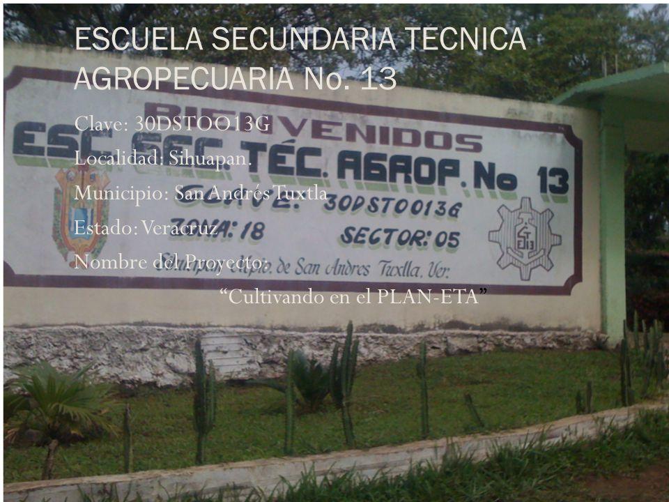 ESCUELA SECUNDARIA TECNICA AGROPECUARIA No. 13 Clave: 30DSTOO13G Localidad: Sihuapan. Municipio: San Andrés Tuxtla Estado: Veracruz Nombre del Proyect
