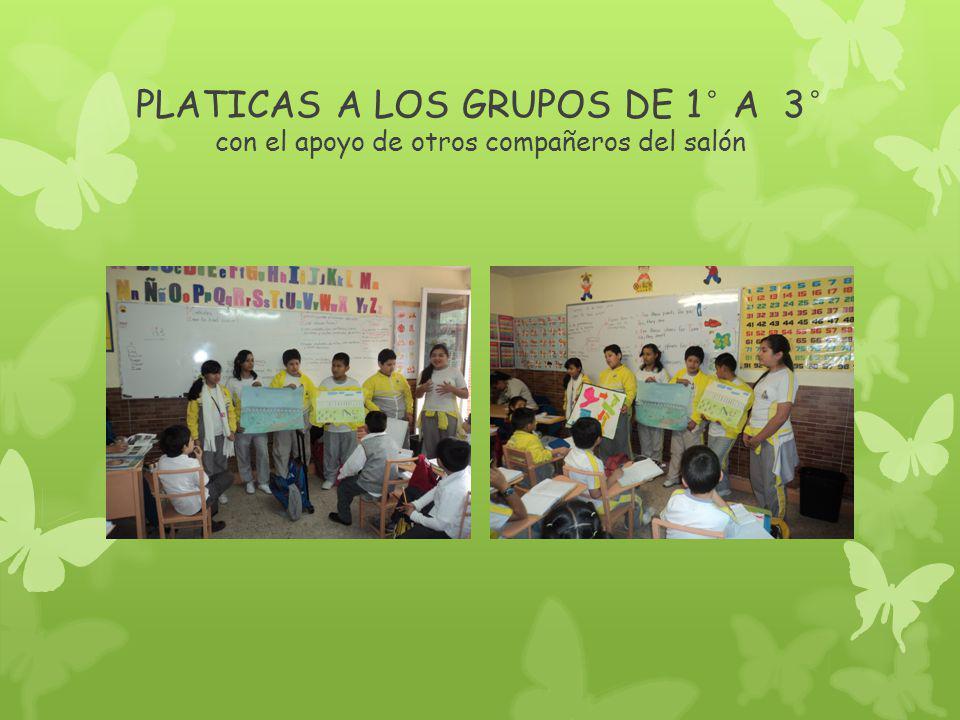 PLATICAS A LOS GRUPOS DE 1° A 3° con el apoyo de otros compañeros del salón