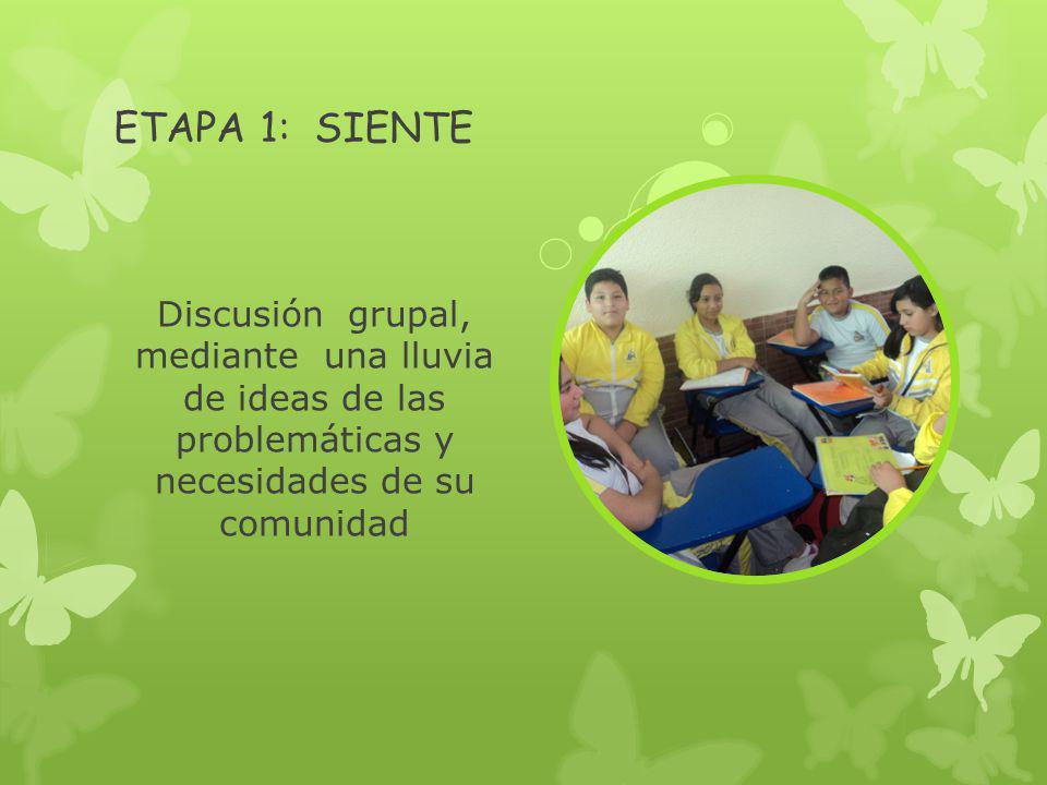 ETAPA 1: SIENTE Discusión grupal, mediante una lluvia de ideas de las problemáticas y necesidades de su comunidad
