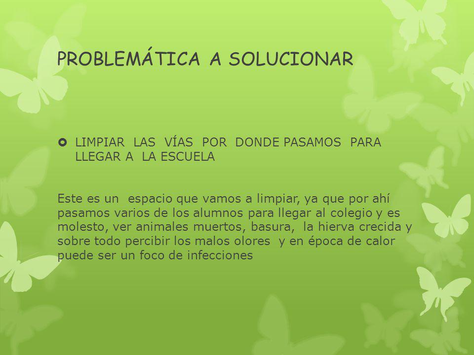 PROBLEMÁTICA A SOLUCIONAR LIMPIAR LAS VÍAS POR DONDE PASAMOS PARA LLEGAR A LA ESCUELA Este es un espacio que vamos a limpiar, ya que por ahí pasamos v