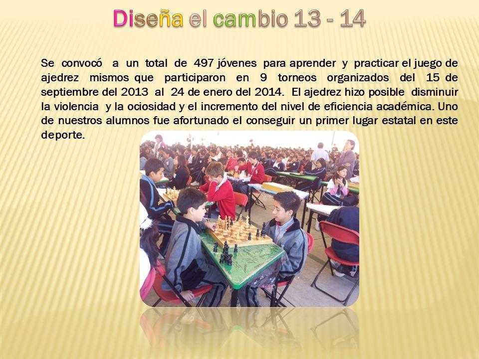 Se convocó a un total de 497 jóvenes para aprender y practicar el juego de ajedrez mismos que participaron en 9 torneos organizados del 15 de septiemb